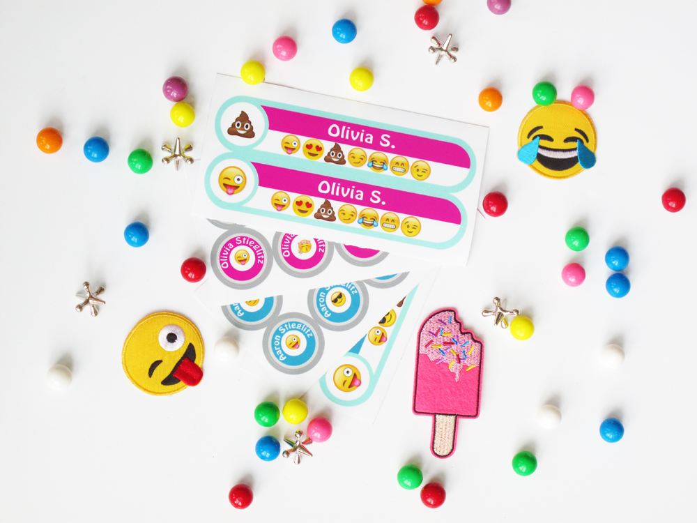 Emoji Name Labels Kids Stickers