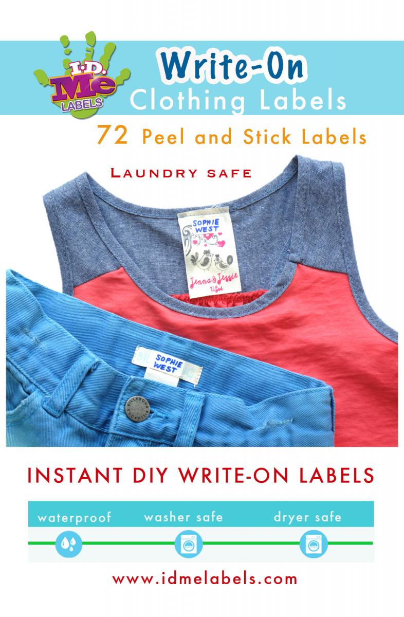 New write on waterproof labels by id me id me name for Clothing identification labels